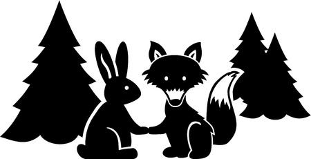 Fox and rabbit say Good Night in the wood Ilustração