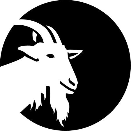 cabra: Silueta cabra delante de la luna