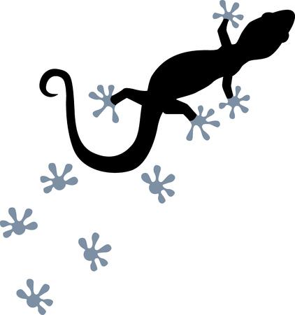Gecko with footprint 矢量图像