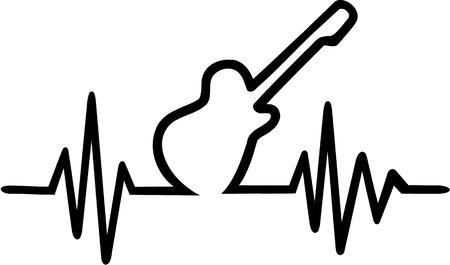 cardiac: Electric guitar cardiac frequence Illustration