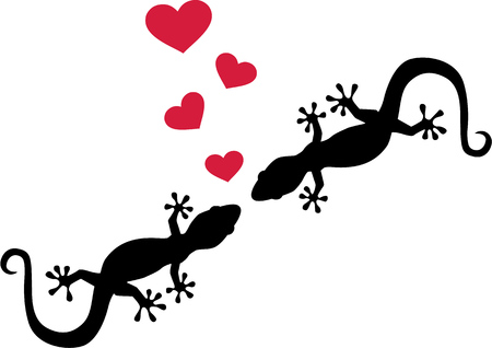 Two geckos in love Illustration