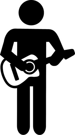 guitar player: Acoustic guitar player pictogram Illustration