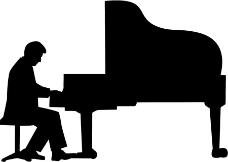 concert grand: Grand piano player silhouette