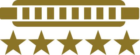 harmonica: Harmonica with 5 stars