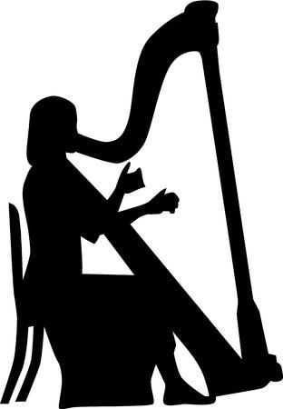 the harp: Jugador de la arpa Vectores