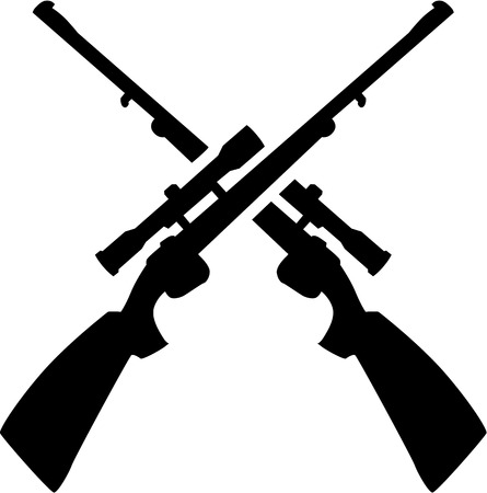 hunting rifle: Hunting rifle crossed Illustration