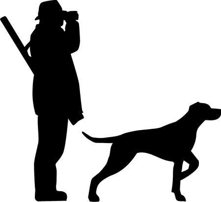 Hunter avec des lunettes sur le terrain et le chien