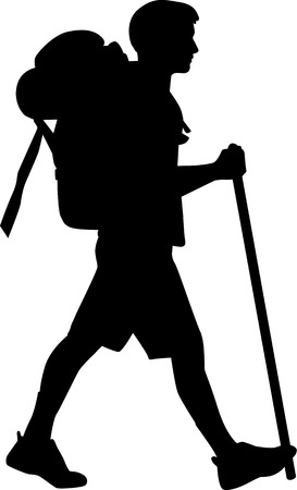 guy with walking stick: Man hiking with stick
