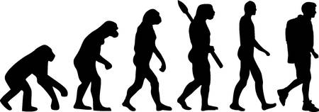 hiking trail: Hiking Evolution Illustration