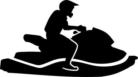 jet ski: Conducir moto de agua Vectores