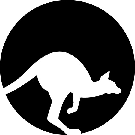 animal pouch: Kangaroo silhouette in front of moon