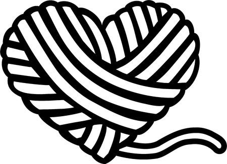 Wełna kulki serce Ilustracje wektorowe