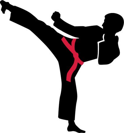 Karate kick met rode riem