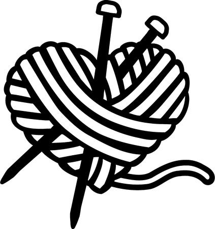 Heart bal van de wol met naalden