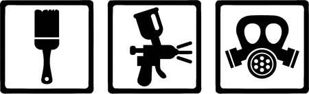 sprayer: Lacquer car painter equipment Illustration