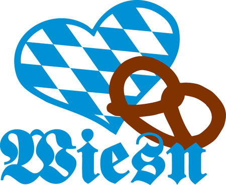 wiesn: Wiesn with pretzel and bavarian heart