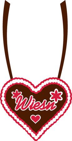 wiesn: Wiesn gingerbread heart Illustration