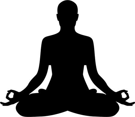 瞑想リラックス シルエット  イラスト・ベクター素材
