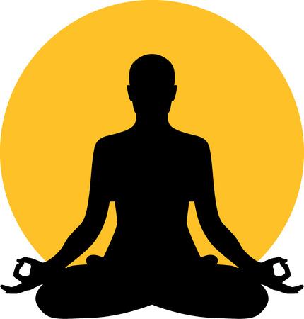 armonía: La meditación delante de la luna el sol Vectores