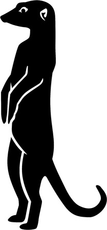 Merkat silhouette with details