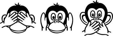 Three wise monkeys Illustration