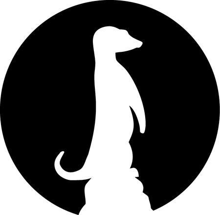 Merkat silhouette in front of moon Illustration