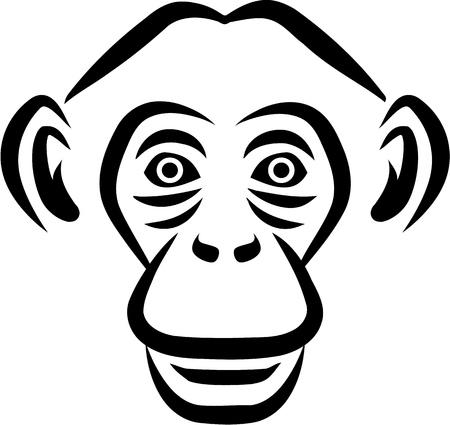 Chimpanzee head sketch style