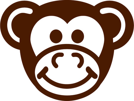 Simple monkey head cartoon Illustration