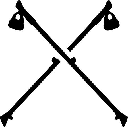 Nordic Walking sticks crossed Illustration
