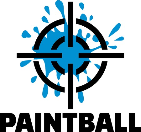 Paintball with target and blue splash