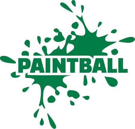 paint gun: Paintball word with green splash