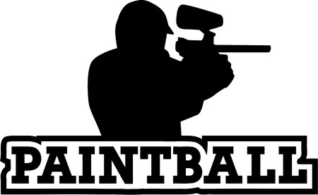 paint gun: Paintball player with word