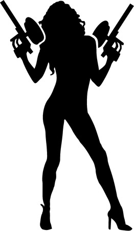 hot woman: Hot woman with paintball guns Illustration