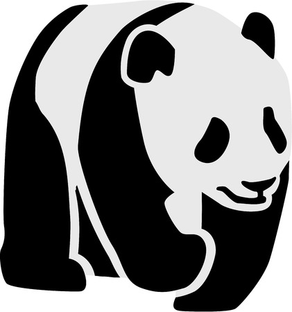 animal silhouettes: Silhouette of a panda Illustration