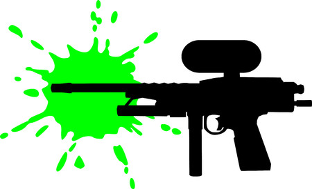 paint gun: Paintball gun with green splash