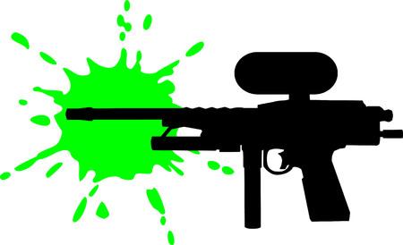 Paintball gun with green splash
