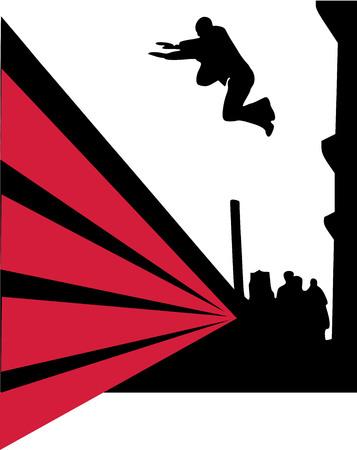 parkour: Parkour jumper in the city Illustration