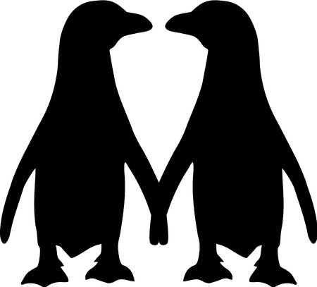 Penguin paar silhouet Stock Illustratie