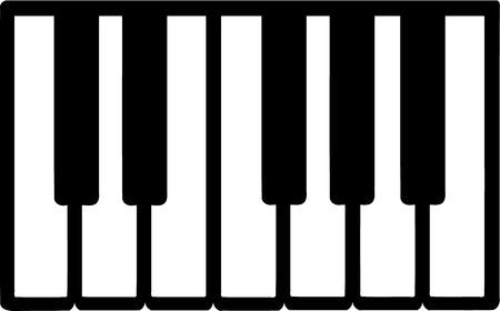 instruments de musique: Touches de piano icône Illustration