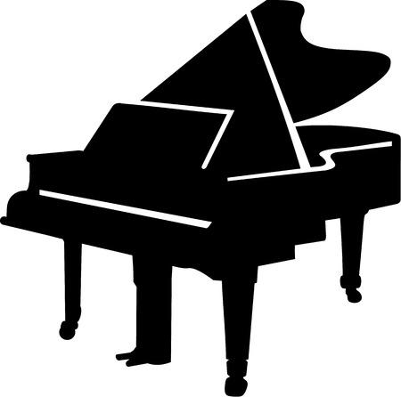 teclado: Gran silueta Piano Vectores