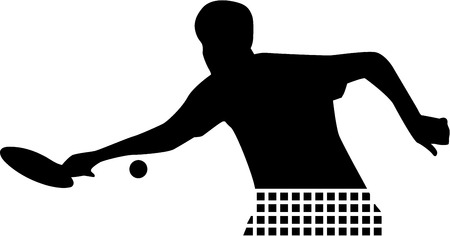 Table Tennis silhouette with net