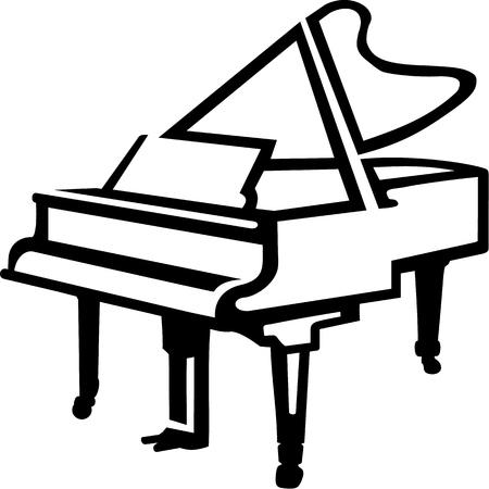 Grand Piano sketch style 일러스트