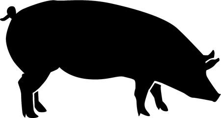 豚のシルエット  イラスト・ベクター素材