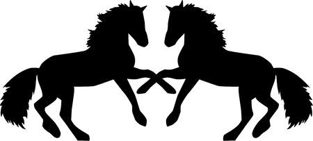 Two horses rearing Ilustrace