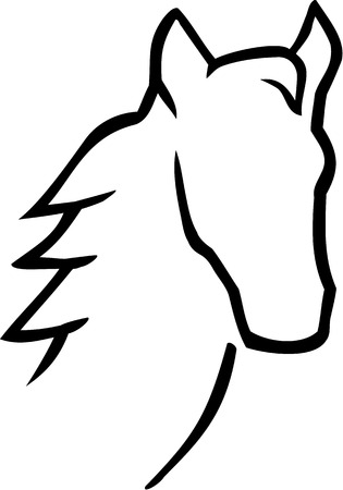 caligraphy: Horse head caligraphy style Illustration