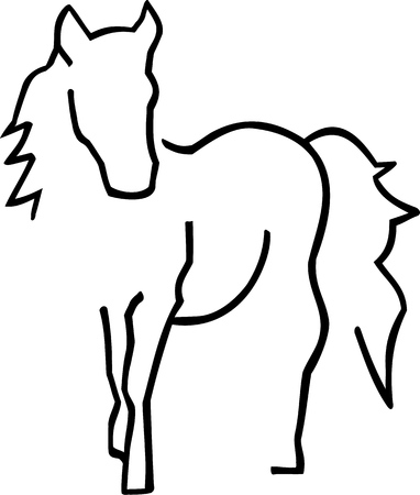 pedigreed: Beautiful horse sihouette hand drawn Illustration