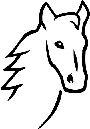 racehorse: Horse head hand drawn Illustration