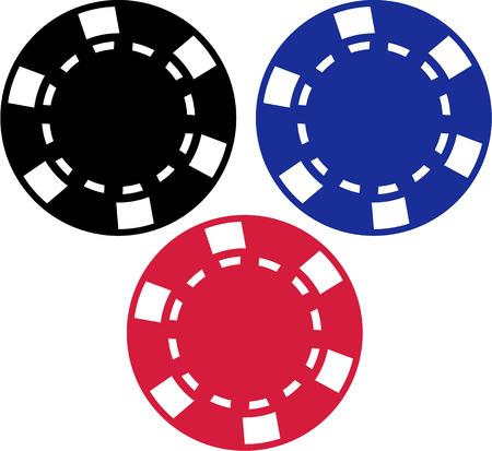 gambling chips: Three gambling chips