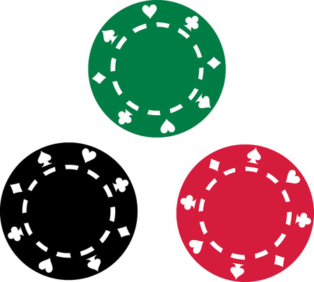 rosso verde: Three poker chips red green black