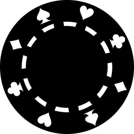 ace of diamonds: Black poker chip Illustration